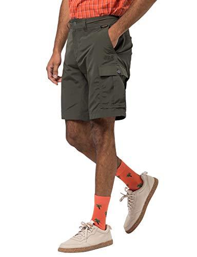 Jack Wolfskin Herren Canyon Cargo Shorts Schnelltrocknende Kurze Wanderhose, Dark Moss, 50