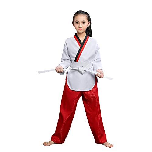 Meijunter Taekwondo Uniform für Erwachsene Kinder Kampfkunst Anzug mit V-Ausschnitt Karate Anzug mit Weißem Gürtel Weiß1 160