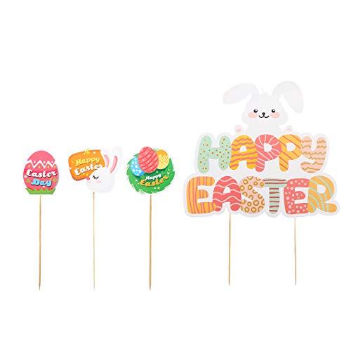 KESYOO 13Pcs Glückliche Ostern Cupcake Topper Hase Kaninchen Kuchen Topper Dekorationen für Geburtstag Ostertag Partyzubehör