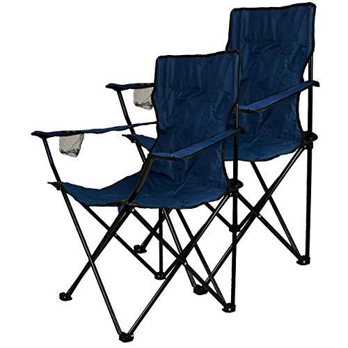 Nexos 2-er Set Angelstuhl Anglerstuhl Faltstuhl Campingstuhl Klappstuhl mit Armlehne und Getränkehalter praktisch robust leicht blau