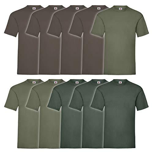 10 Fruit of the loom T Shirts Valueweight T Rundhals S M L XL XXL 3XL 4XL 5XL Übergröße Diverse Farbsets auswählbar (XL, 4 Schoko / 3 Olive / 3 Flaschengrün)