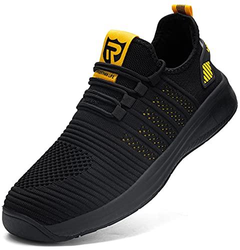 LARNMERN Laufschuhe Herren Wasserdicht Turnschuhe Sportschuhe Sneaker Joggingschuhe Walkingschuhe Traillauf Fitness Schuhe(Gelb 42)