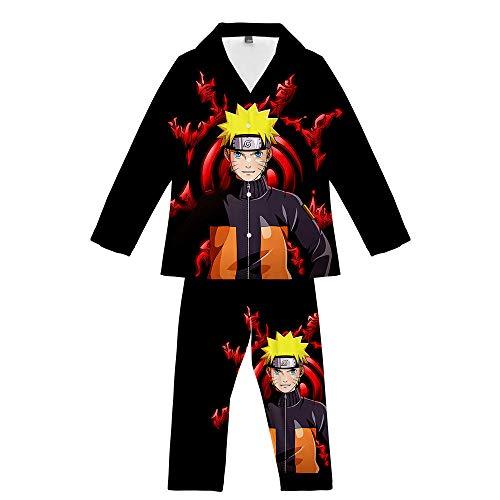 GAMESBD Anime Uzumaki Naruto 2 Stück Pyjama-Set Teenager Herren/Damen Langarm Freizeit Pyjamas Bequem Weich Schwarz XXL