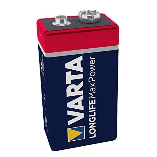 VARTA Longlife Max Power 9V Block 6LR61 Batterie, Alkaline E-Block Batterien ideal für Feuermelder Rauchmelder Stimmgerät (1er Pack)