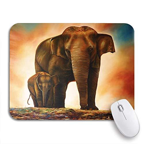 Gaming mouse pad tierfamilie elefant malerei auf leinwand afrikanische mutter realistische rutschfeste gummi backing computer mousepad für notebooks maus matten
