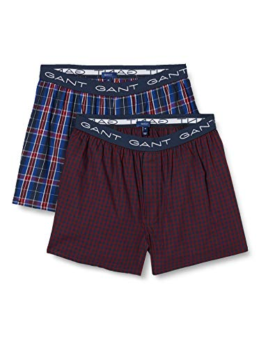 GANT Herren 2-P Box Shorts GINGH/Tartan Check Boxershorts, Port RED, L