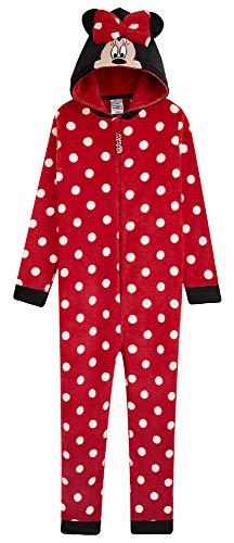 Disney Minnie Mouse Jumpsuit Kinder, Einteiler Onesie Kinder Mädchen 2-14 Jahre, Fleece Overall Kostüm mit Kapuze, Geschenke für Kinder (11-12 Jahren)
