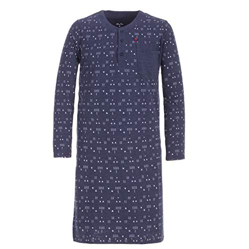 Henry Terre Herren Nachthemd Langarm Schlafanzug lang mit Brusttasche und Kopfleiste, Farbe:Blau, Größe:3XL