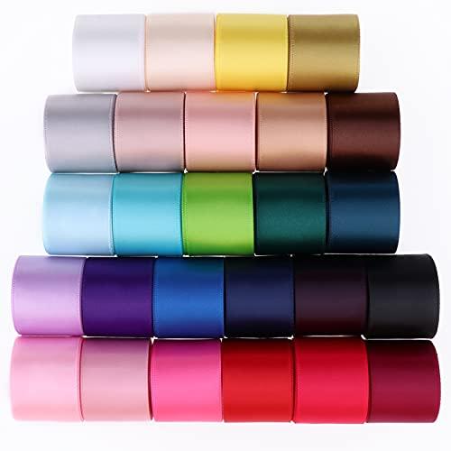 FLAMEER Schleifenband breit 26 Stück Satinband 25mm Doppelseitiges Grosgrain Bändern Geschenkband Seidenband Stoffband, 26 Farben