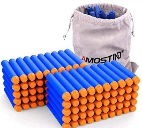 AMOSTING Refill Foam Darts Hasbro Pfeile 100Pcs Bullets für Nerf N-Strike Elite Series Spielzeugpistolen mit Aufbewahrungstasche - Blau