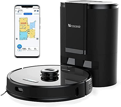 Proscenic M8 PRO WLAN Saugroboter, Staubsauger Roboter mit automatischer Absaugstation & aktiver Wischfunktion, Laser Navigation, Google Home, Alexa- & App-Steuerung