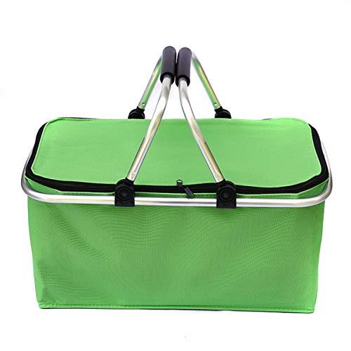 YOPOTIKA Falten Picknick Camping Korb Tragbare Isolierte Hand Box Einkaufen Kühler Hause Lagerung Körbe 30L Grün