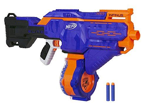 Hasbro Nerf E0438EU4 Nerf N-Strike Elite Infinus, Voll-motorisierter Spielzeug-Blaster, mit Schnell-Lade-Technologie, für Kinder & Erwachsene, inkl. 30 Darts & Trommelmagazin