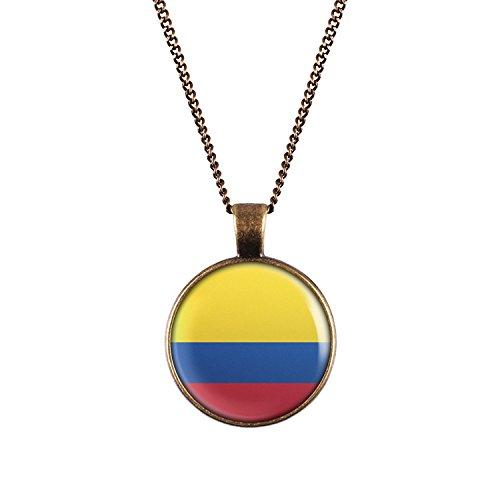 WeAreAwesome Kolumbien Flagge Halskette - Länderkette Columbia mit Fahne Anhänger Unisex Kette