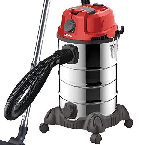 DMS Industriestaubsauger mit 2300 Watt   Nasssauger   Trockensauger   Edelstahl   Blasfunktion   Filterreinigungssystem   beutellos   30 Liter Fassungsvermögen   Rot