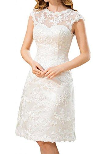 YASIOU Elegant Damen Kurz A Linie Weiß Spitze Vintage Hochgeschlossen Knielang Tiefer Rücken Hochzeitskleid Brautkleid