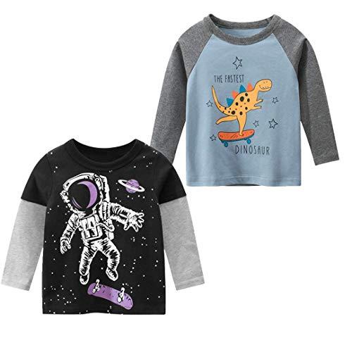Tyidalin 2er Pack Jungen Langarmshirt T Shirt Sweatshirt Bedrucktes Baumwolle Oberteil 1-7 Jahre (Farbe B, 5-6 Jahre)