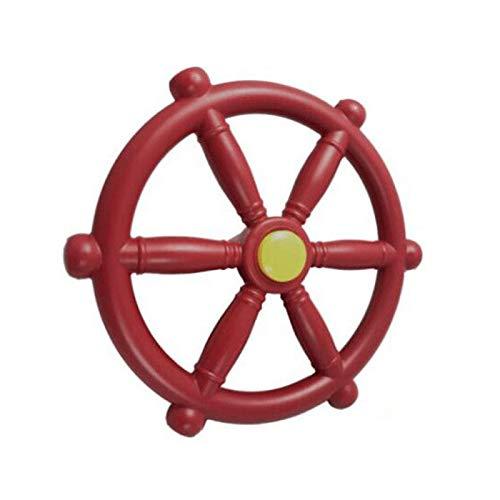 GeKLok Piratenschiff-Rad, Spielplatz-Lenkrad, nautisches Strand-Boot-Schiff-Lenkrad, Spielset-Zubehör, Piratenschiff-Rad für Dschungel-Fitnessstudio oder Schaukel Set (rot)