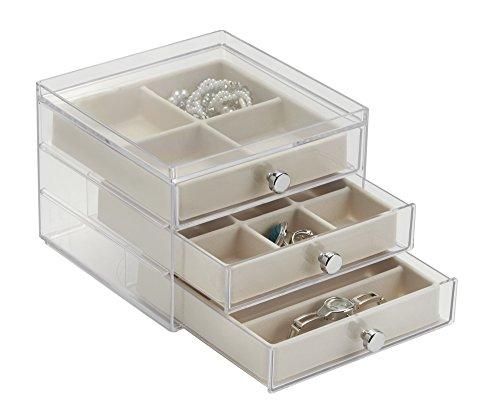 mDesign Schmuckkasten mit Schubladen - ideale Aufbewahrung von Ohrringen, Ringen, Broschen etc. – Schmuckaufbewahrung mit Aufbewahrungsbox - Farbe: durchsichtig/elfenbeinfarben