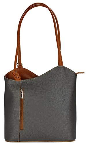 Belli italienische Ledertasche Backpack 2in1 Damen Rucksack Leder Handtasche Schultertasche in dunkelgrau cognac - 28x28x8 cm (B x H x T)