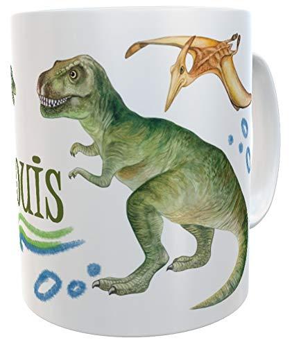 Tasse T-Rex mit Name, Becher für echte Dinofans Kindertasse Dinosaurier Mug Geburtstag Geschenk Idee inkl. Geschenkverpackung (Kunststoff)