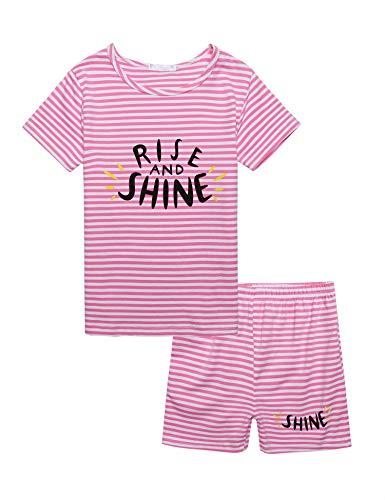 trudge Mädchen Zweiteiliger Schlafanzug Baumwolle Kinder Kurze Lange Ärmel Kurze Lung Hose Pyjama (120, Rosa)