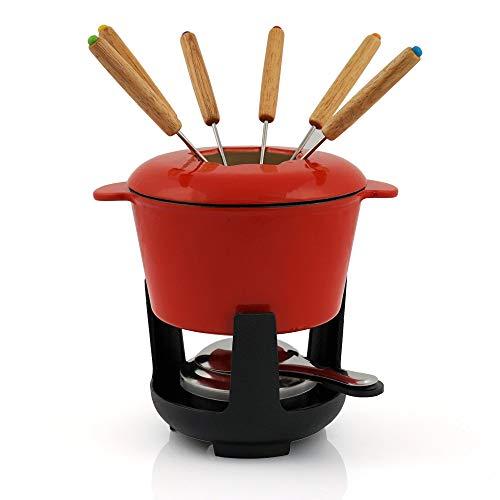 BBQ-Toro Gusseisen Fondue Set für 6 Personen Fondueset 13 teilig mit Brenner und Gabeln Füllmenge 1 Liter Käse Schokolade Induktion (rot/Creme emailliert)