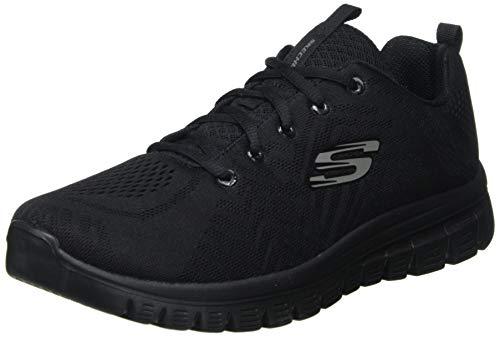 Skechers Damen GRACEFUL-GET CONNECTED-12615 Sneaker, Schwarz (Black Mesh/Trim BBK), 41 EU
