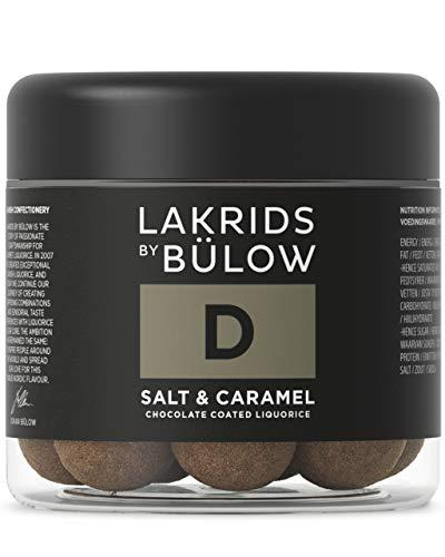 LAKRIDS BY BÜLOW - D - SALT & CARAMEL - 125g - Dänische Gourmet Lakritz-Kugeln - Süßer Lakritzkern umhüllt von Karamell-Schokolade & Meersalz - Süßigkeiten Geschenk für Lakritze Liebhaber
