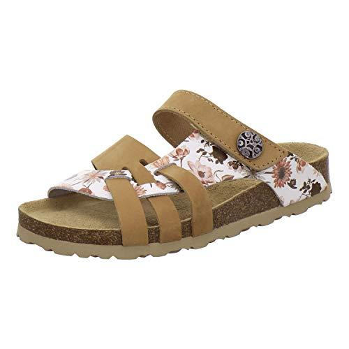 AFS-Schuhe 2120 Pantoletten Damen aus Leder mit Klettverschluss, Bequeme Hausschuhe für Damen mit Fußbett, Made in Germany (36 EU, braun/Natur-Flower)