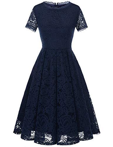 DRESSTELLS Damen Kleider für hochzeitsgäste Elegant Spiztenkleid mit Kurzarm Navyblau Abendkleid midilang Navy M