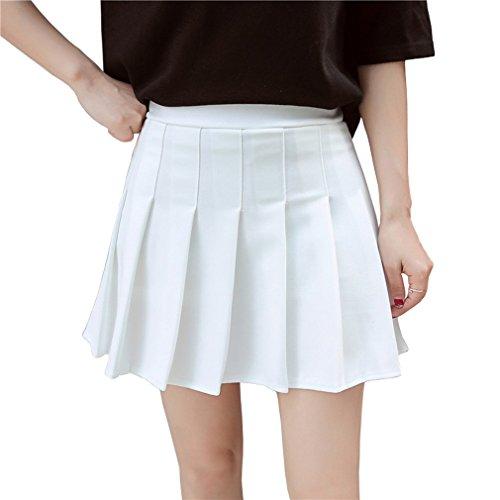Hoerev Frauen Mädchen Kurze hohe Taille gefaltete Skater Tennis Schule Rock,Weiß,32 / XS