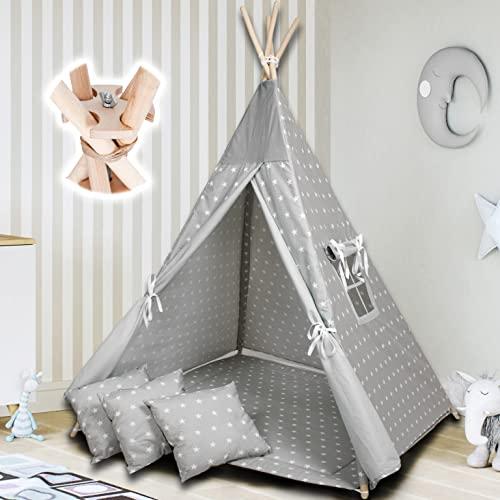 PALULLI Tipi Spielzelt für Kinder mit Matte & Anti-Kollaps-System & 3 Dekokissen Baumwolle- Segeltuch Kinderzelt