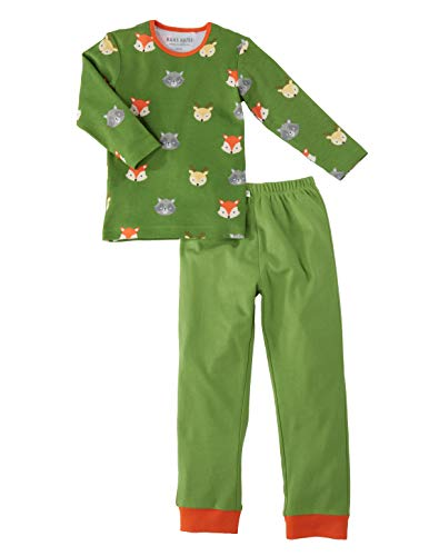 Bio Kinder Schlafanzug 2-teilig 100% Bio-Baumwolle (kbA) GOTS zertifiziert, Waldtiere, 110/116