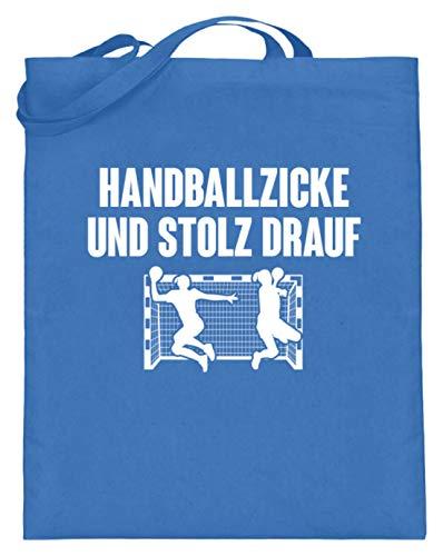 shirt-o-magic Handball: Handballzicke und stolz drauf - Jutebeutel (mit langen Henkeln) -38cm-42cm-Blau