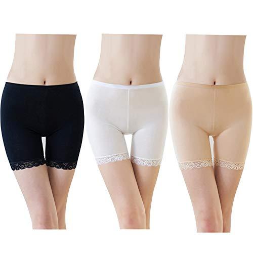 FEPITO 3 Pairs Frauen Unter Rock Shorts Sicherheitshosen Weiche Stretch Lace Trim Leggings Kurze Yogahosen Plus (Black+White+Skin, S-M)