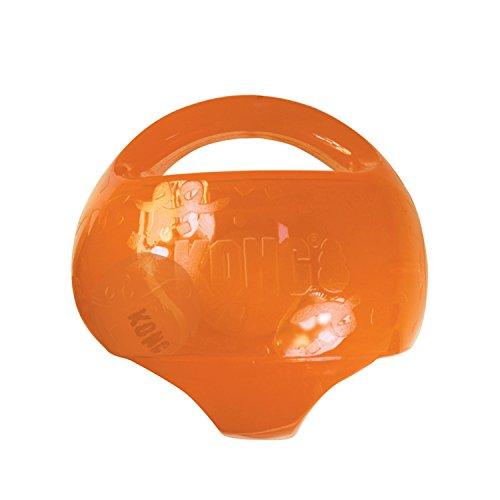 KONG – Jumbler Ball – Interaktiv mit Tennisball zum Apportieren – Für Mittelgroße/Große Hunde (Farbvar.)