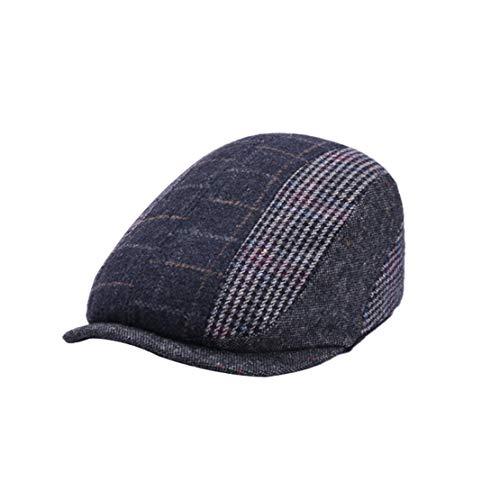XueXian Cordmütze Flatcap Schiebermütze Schirmmütze Gatsby Newsboy Cap für Erwachsene(Dunkelgrau Kariert)