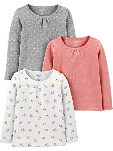 Simple Joys by Carter's Multi-Pack Long Sleeve Shirts Hemd, Rosa, Floral, 5 Jahre, 3er