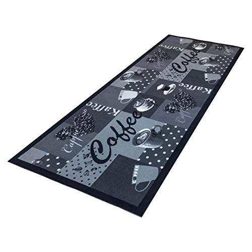 HOMEFACTO:RI Küchenläufer Küchenteppich Teppichläufer Läufer Kaffee Cafe Coffee | waschbar, Größe:ca. 45 x 145 cm, Designs:Kaffee | schwarz weiß