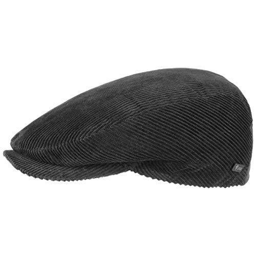 Lipodo Cord Flatcap schwarz Herren/Damen - Schirmmütze aus Baumwolle - Schiebermütze mit Futter - Cap Größe XL 60-61 cm - Cordmütze Sommer/Winter
