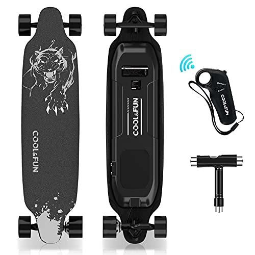HOVERMAX Elektro Skateboard, 35,4x9 Zoll Elektrisches Longboard-Skateboard mit Fernbedienung, Geeignet für Erwachsene, Jugendliche und Anfänger, 400W Brushless-Motor, 11-Stöckiges Ahorndeck, Schwarz