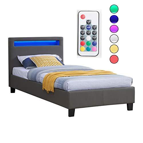 CARO-Möbel Polsterbett Mandalay mit LED Beleuchtung Einzelbett Lederbett 90 x 200 cm mit Lattenrahmen, Lederimitat in grau