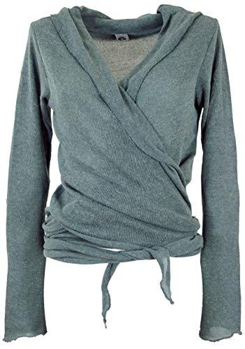 GURU SHOP Wickelshirt, Baumwollstrick Pullover, Wickeljacke, Taubenblau, Baumwolle, Size:M (38), Pullover, Longsleeves & Sweatshirts Alternative Bekleidung
