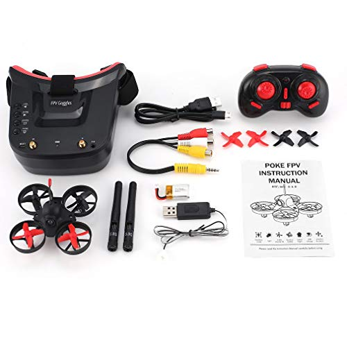 WEQQ 5.8G 40CH FPV Kamera Mini RC Racing Drohne Quadcopter mit 3-Zoll-Headset-Brille (rot & schwarz)