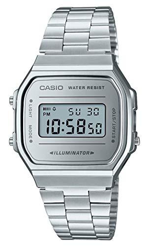 Casio Unisex Erwachsene Digital Quarz Uhr mit Edelstahl Armband A168WEM-7EF