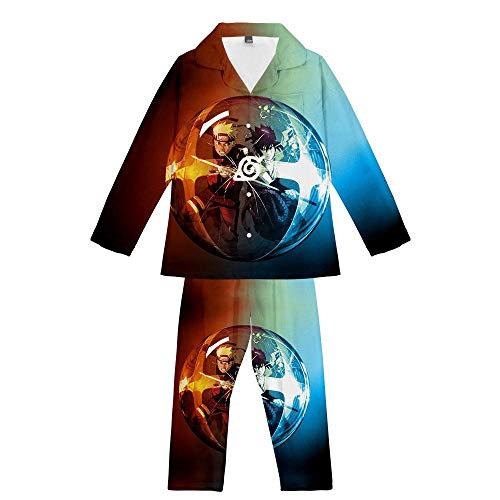 GAMESBD Unisex Anime Naruto Uchiha Sasuke Süß Pyjama-Set Langarm Herren/Damen Komfortabel Weich 3D Lässig Pyjama Blaubraun S