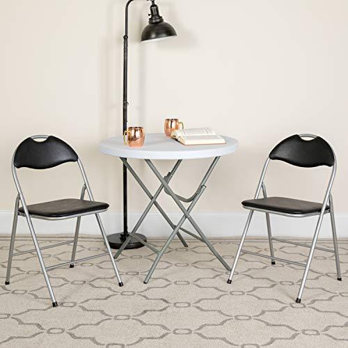 Flash Furniture Klappstuhl HERCULES aus Metall – Gepolsterter Stuhl für Gäste oder Veranstaltungen – Küchenstuhl mit Tragegriff auch für draußen geeignet – 4er-Set – Schwarz