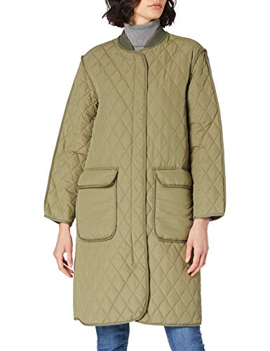 Noa Noa Womens NOA Quilted Coat, Light Outerwear,Long Sleeve Jacket, Army Green, 40