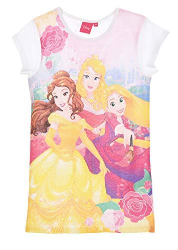 Nachthemd, kurzärmelig, für Kinder, Mädchen, Disney Prinzessinnen, Rapunzel, Aschenputtel und Belle Rosa, von 3 bis 6 Jahren Gr. 3 Jahre, weiß